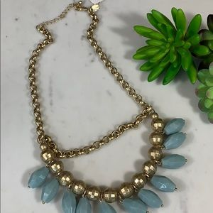 Lia Sophia gold/baby blue beaded necklace
